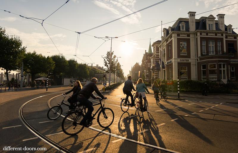 Amsterdam, cycling, cycle, sunset