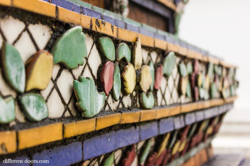temple of the reclining Buddha, Wat Pho, Bangkok, Thailand, mosaic tiles